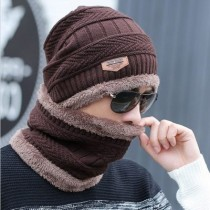 Winter Knitting Skull Cap and Neck Scarf Wool Warm