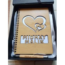 Customized Wooden Dairy with Wooden Pen Set
