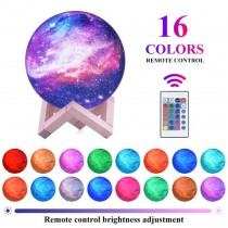 Rechargeable Moon Light 16 Colors Lamp with Wooden Stand