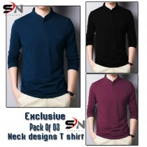Exclusive Pack Of 3 Neck Designs T-Shirt