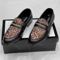 Gucci Leopard Texture Formal Shoes