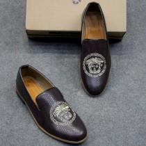 Versace Texture Logo Design Shoes - Brown