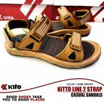 Kito Line 2 Strap Casual Sandals Camel Brown