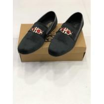 Velvet Style Black Loafer Shoes