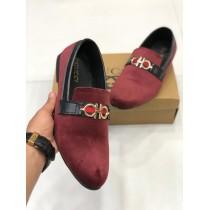 Velvet Style Maroon Loafer Shoes