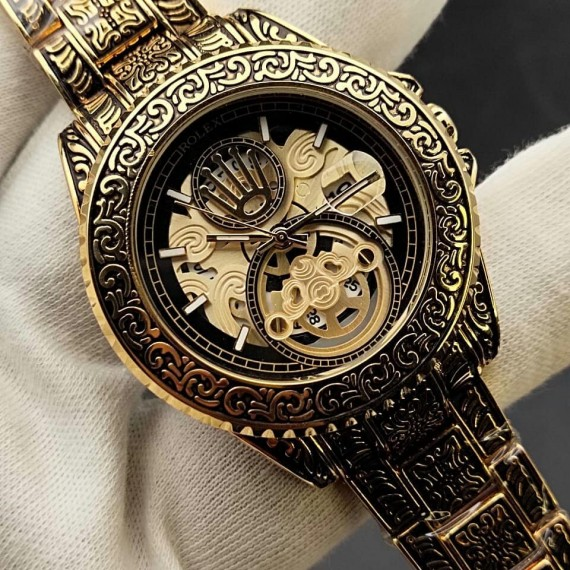 Rolex Engraving Chain Skeleton Date Dial