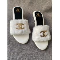 Chanel Fur Strap Heel Sandal