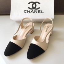 Chanel Two-Tone Toe Slingback Sandals