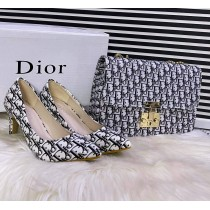 Combo Dior Texture Heel With Doir Texture Cross Body Bag