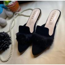 Gucci Y21 Fur Design Slipper Black