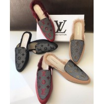 LV Flat Back Open Fur Shoes SCP-0183
