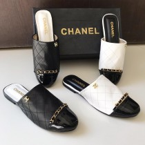 Chanel Chain Style Closed Toe Half Slippers