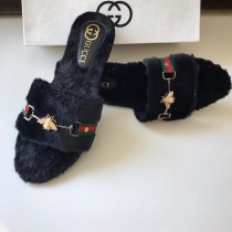 GUCCI Fur Bee Strap Slipper