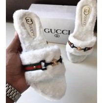 Gucci Stylish Band Fur Slippers SCM-130