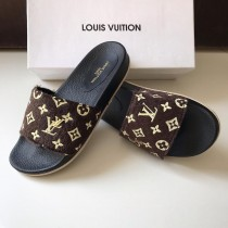 LV Paris Fur Strap Casual Slipper