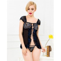 Princess Black with Blue Crotchet Babydoll