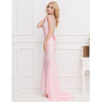 Princess Back Ribbon Sleeveless Floor-Length