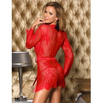 Red Eyelash Lace Sleepwear Gown