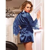 Sexy Blue Sleepwear Silk Satin Lace Robe Nightwear
