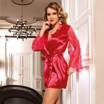 Sexy Red Sleepwear Silk Satin Lace Robe Nightwear