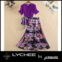 Casual Floral Ribbon Skirt With Top LK-9163