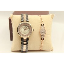 Pack of 2 High Quality Ladies Watch and Zircon Bracelet