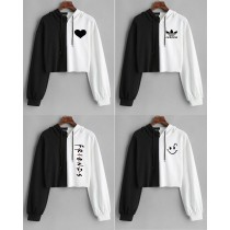Black and White Crop Top Contrast Hoodie for Women's