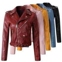 Women's Pocket Zipper Leather Jackets